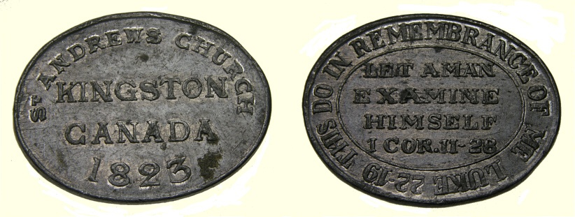 Ancient Coins - KINGSTON ONTARIO 1823 St.Andrew's Church Communion Token EF+