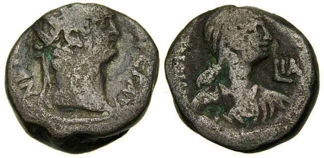 Ancient Coins - EGYPT, Alexandria, Nero, with Poppaea, A.D. 54-68, BI Tetradrachm (23 mm, 13.34 gm., 12h), Dated RY 11 (A.D. 64/5) Fine