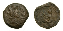 Ancient Coins - SPAIN, Carteia after 44 BC, Æ Semis (21mm, 6.16 g, 9h) Very Fine