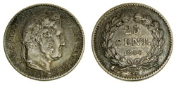 World Coins - France, LOUIS-PHILIPPE I (1830-1848), AR 25 Centimes 1846-W Very scarce issue from Lille Mint, only 38,866 Struck Very Rare