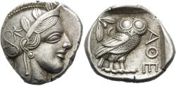 Ancient Coins - ATTICA, Athens, Circa 449-404 B.C. AR Tetradrachm (25 mm, 17.20 g, 2 h), 430s B.C. EF Ex Nomos