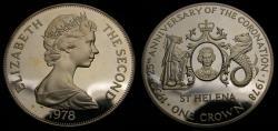 World Coins - 1978 Saint Helena Silver 1 Crown .925 .841 Oz. KM# 7 Proof
