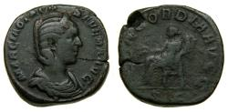 Ancient Coins - Otacilia Severa, Augusta, A.D. 244-249, Æ Sestertius (30 mm, 17.02 gm., 12h). Rome mint, issued during the reign of Philip I, AD 246 VF/F