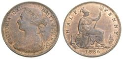 World Coins - Great Britain 1886 1/2 Penny  KM.754 AU+