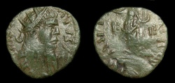 Ancient Coins - Carausius, Romano-British Emperor, AE (18.5 MM, 1.95 GM, 12 H) Antoninianus Oversturck on Ant. of Gallienus, Lovely Patina, VF+, Rare