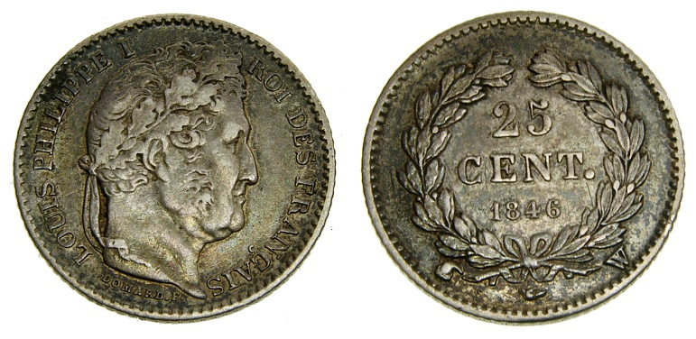Ancient Coins - France, LOUIS-PHILIPPE I (1830-1848), AR 25 Centimes 1846-W Very scarce issue from Lille Mint, only 38,866 Struck Very Rare