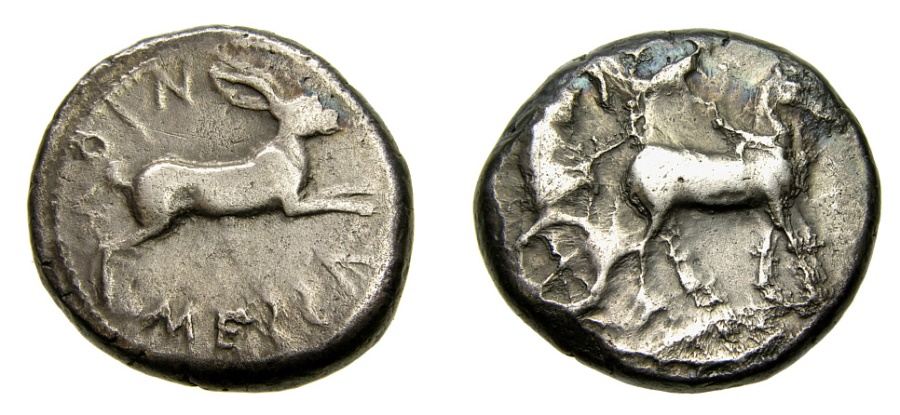 Ancient Coins - SICILY, Messana, Circa 460 B.C. AR Tetradrachm (26 mm, 17.24 gm., 10h) aVF/VF Die Breaks