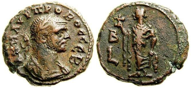 Ancient Coins - Egypt, Alexandria, Probus A.D. 276-282. Potin tetradrachm (20 mm, 8.08 g), Dated Year 2 (A.D. 277-278), VF Brown patina, Elpis