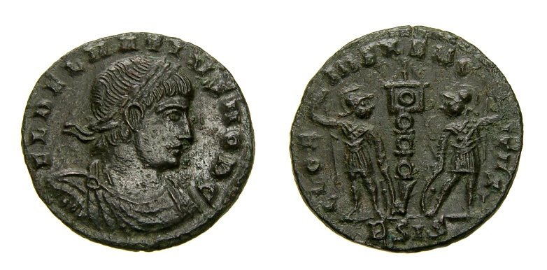 Ancient Coins - Delmatius, Caesar, A.D. 335-337, Æ Follis (16 mm, 1.55 gm., 6h), Siscia mint, 2nd officina, Struck AD 335-336, EF