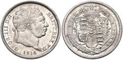 World Coins - HANOVER. George III. 1760-1820. AR Shilling (23.5mm, 5.64 g, 12h). Last / New coinage. London mint. Dated 1816