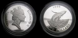 World Coins - Bermuda Humpback Whale Silver Two-Dollar 1993 Commemorative Coin in Mint Condition