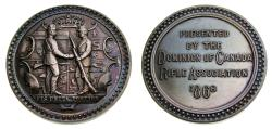 Ancient Coins - Dominion of Canada 1868 Rifle Association Silver Medal (44 mm, 46.15 g, 12h) Rainbow Toning Choice UNC