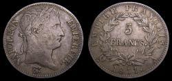 Ancient Coins - France 1811A 5 Francs Napoleon Bonaparte KM#694.1 VF+ 6361