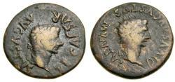 Ancient Coins - SPAIN, Turiaso, Tiberius, with Divus Augustus, A.D. 14-37, Æ As (29 mm, 14.45 gm., 7h) VF