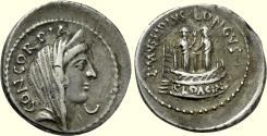 Ancient Coins - Roman Republic, L. MUSSIDIUS LONGUS, 42 BC, AR Denarius (19 mm, 3.85 g, 8h) Rome Mint, VF