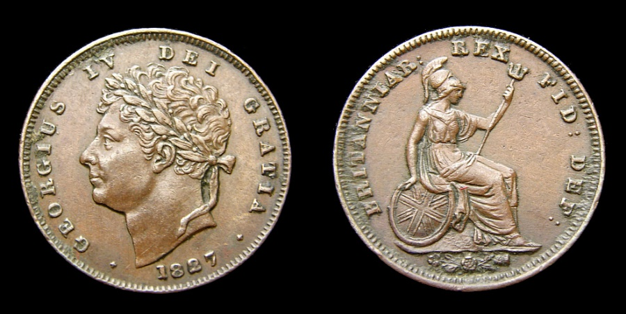 Ancient Coins - 1827 Great Britain 1/3 Farthing For Use in Malta King George IV KM# 703 EF Rare This Nice