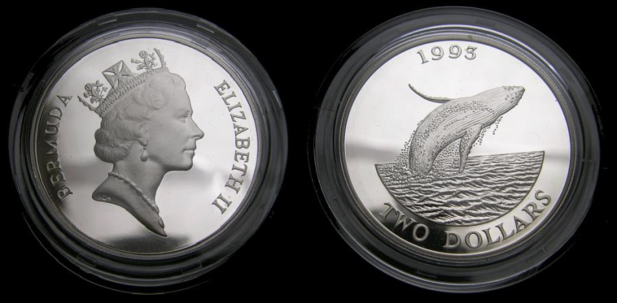 Ancient Coins - Bermuda Humpback Whale Silver Two-Dollar 1993 Commemorative Coin in Mint Condition