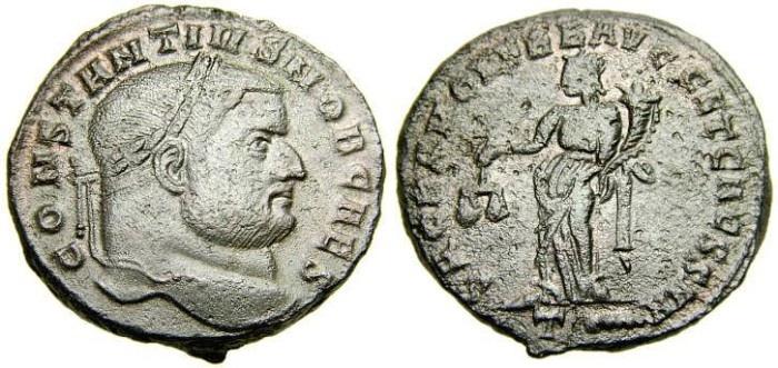 Ancient Coins - Constantius I, As Caesar, A.D. 293-305, Æ Follis (26 mm, 11.24 g, 12h), Rome mint, Struck A.D. 300-301 EF/VF Modern Silvering
