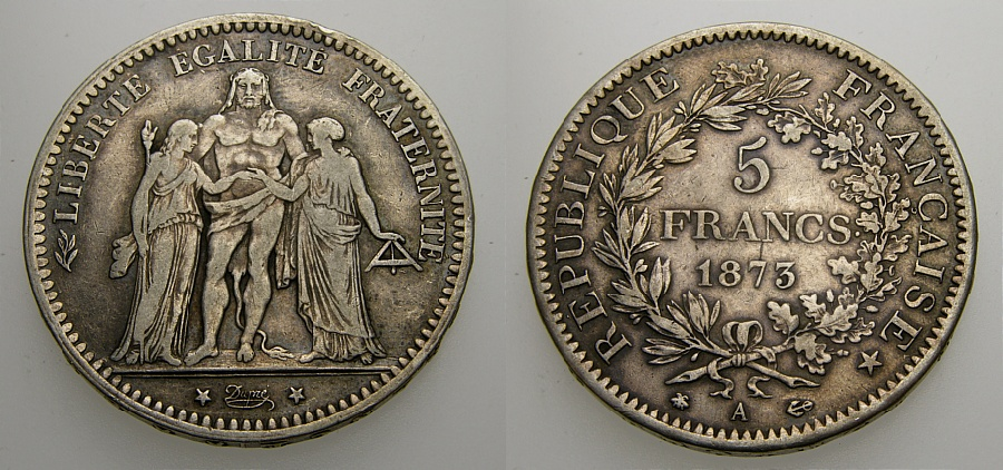 Ancient Coins - FRANCE 1873 A, 5 Francs, Good VF