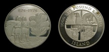 World Coins - Iceland 1974, 1000 Kronur, 1100th Anniversary of First Settlement, Proof