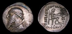Ancient Coins - KINGS of PARTHIA, Mithradates II, 121-91 B.C. AR Drachm (22 mm, 4.08 gm., 12h), Ekbatana mint. Struck circa 120/19-109 B.C. EF