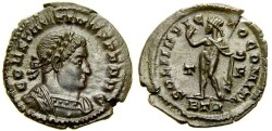 Ancient Coins - CONSTANTINE I, The Great, 307-337 A.D. Æ Follis (21 mm, 3.09 gm., 12h), Treveri (Trier) mint, Struck 315-316 A.D. EF Patina