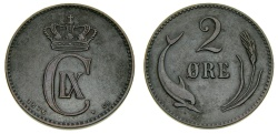 World Coins - Denmark, Christian IX, 1863 - 1906, 2 ORE (øre) 1876, Good VF or better. Key Date, Lowest mintage in the entire decimal series 231,000 Very Rare