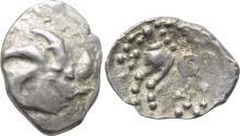 Ancient Coins - Celtic, CENTRAL EUROPE, Vindelici, 1st century BC, AR Quinarius (17 mm, 1.97 g) Büschelquinar type VF