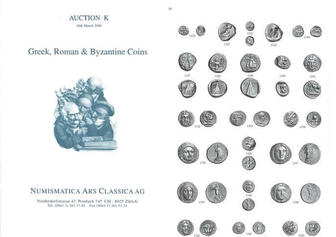 Ancient Coins - Numismatica Ars Classica (NAC) Auction K - March 30, 2000 - Greek, Roman & Byzantine Coins