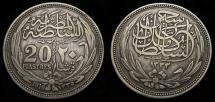 World Coins - Egypt 1916 Under British Protectorate 20 Piastres .833 0.7499 KM #321 VF+