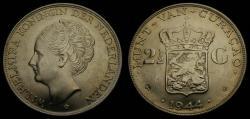 World Coins - 1944 Curacao 2-1/2 Gulden .720 Silver .5787 Oz. ASW Toned BU