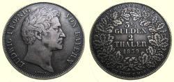 Ancient Coins - German States, Bavaria, Ludwig I, 1839 3-1/2 Gulden 2 Thaler (41 mm, 36.87 g) Toned EF