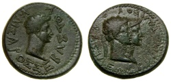 Ancient Coins - KINGS of BOSPORUS, Rhoemetalces I & Pythodoris, with Augustus, Circa 11 B.C.-A.D. 12, Æ (23 mm, 9.47 gm., 6h) VF/Good VF+