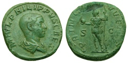 Ancient Coins - Philip II, As Caesar, A.D. 244-247, Æ Sestertius (30 mm, 20.90 gm., 12h), Rome mint, 3rd officina, 4th emission, A.D. 245 Near EF Apple Green Patina