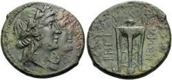 Ancient Coins - BRUTTIUM, Rhegion, Circa 215-150 B.C. Æ Triens (26 mm, 11.23 g, 12 h) VF Ex Nomos