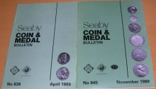 Ancient Coins - 2 Seaby Coin & Medal Bulletins #839 (April 1989) and #845 (November 1989)
