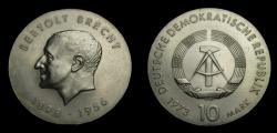 World Coins - Germany 1973 Democratic Republic 10 Mark, Bertolt Brecht, KM-45, BU