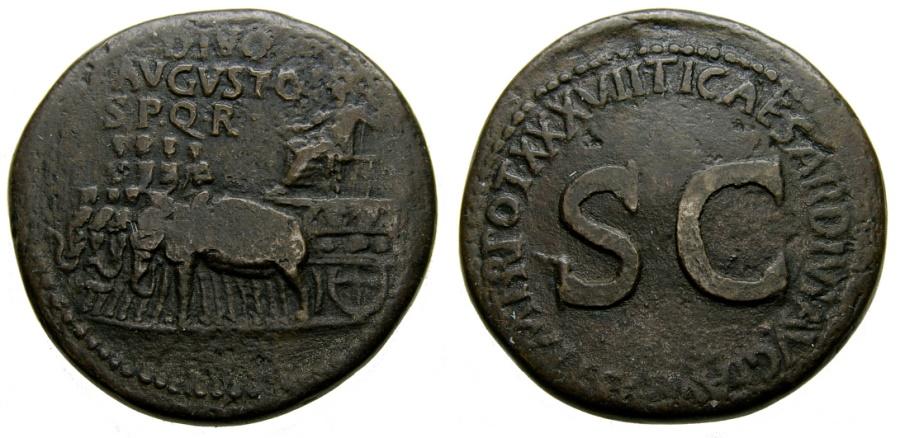 Ancient Coins - Divus Augustus, Died A.D. 14, Æ Sestertius (33 mm, 23.68 gm., 6h), Rome mint, Struck under Tiberius, circa A.D. 36-37 aVF