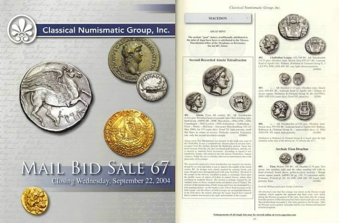 Ancient Coins - Classical Numismatic Group - CNG 67 - September 22, 2004 - Auction Catalogue - Greek & Roman Coins, Legionary Denarii of Mark Antony PRL