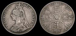 World Coins - 1889 Great Britain Double Florin KM#763 aVF 6299