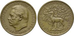 World Coins - GERMANY, Weimar Republic, Due to the 85th anniversary of Paul von Hindenburg 1932, Æ Medal (36 mm, 19.39 g, 12h) by Karl Goetz, medalist EF