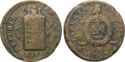 Ancient Coins - FRANCE, Premier République, Convention nationale, 1792-1795, CU 2 Sols (34 mm, 25.47 g, 6h). Strasbourg mint. Dually dated L'An II and 1793 Fine