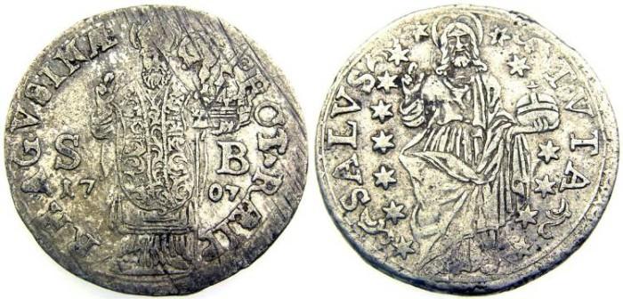 Ancient Coins - Dalmatia, Ragusa, Silver Perpero (26 mm, 5.47 gr.) 1707, Nice VF