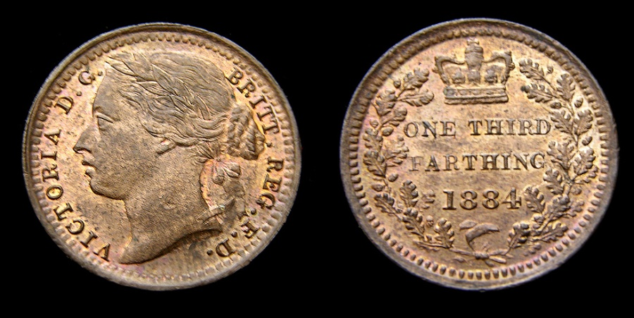 Ancient Coins - 1884 Great Britain Third Farthing For Use in Malta Mintage only 144,000 KM# 750 UNC