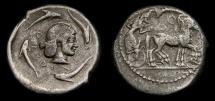 Ancient Coins - Sicily, Syracuse, Tetradrachm circa 480-475 B.C., AR Tetradrachm, (24 mm, 17.16 gm., 11h) VF