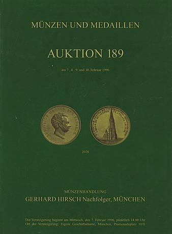 Münzenhandlung Gerhard Hirsch Nachfolger München Auction 189
