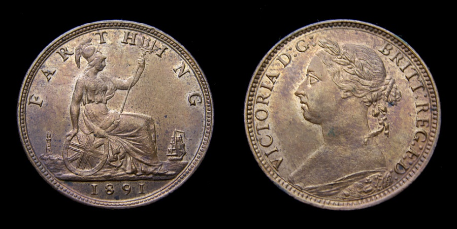 Ancient Coins - 1891 Great Britain Farthing S-3958 BU