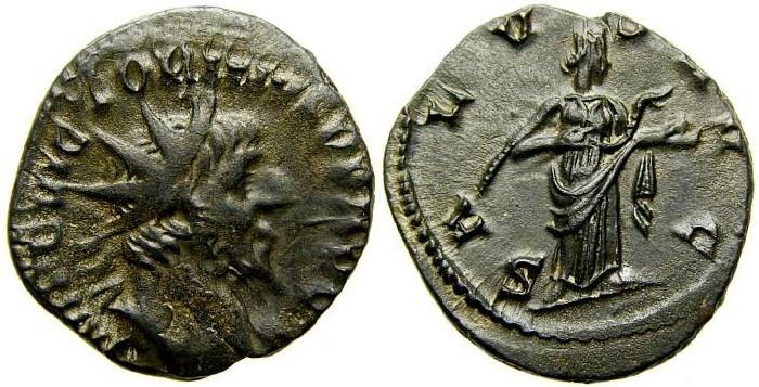 Ancient Coins - VICTORINUS, Romano-Gallic Emperor, 260-269 A.D. Æ Antoninianus (19 mm, 2.87 gm. 6h), Mint city II = Colonia Agrippinensis (Cologne), Struck 269/270 A.D. VF/EF