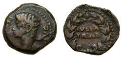 Ancient Coins - SPAIN, Julia Traducta. Augustus. 27 B.C.-A.D. 14, Æ As (25 mm, 9.89 gm., 1h) VF