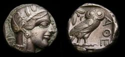 Ancient Coins - ATTICA, Athens, Circa 454-404 B.C. AR Tetradrachm (23 mm, 17.10 gm., 9h) Toned EF